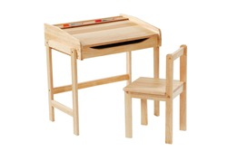Kid study desk and chair isolated with clipping path.