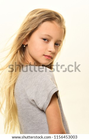 kid style. kid style of vgirl with long blonde hair. kid style for little girl isolated on white. kid style concept. #1156453003