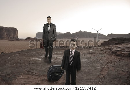 Kid traveling on road concept