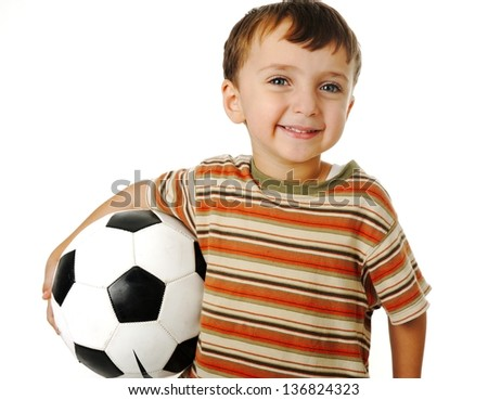 Kid with a ball for soccer