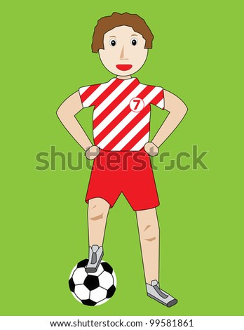 kid with ball illustration - stock photo