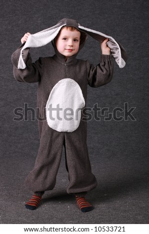 Kid with bunny costume - ready to be Eastern rabbit