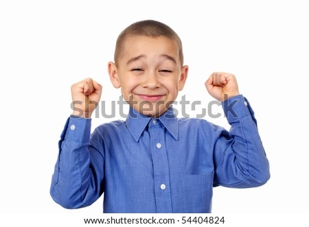 Kid with fists raised in success, isolated on white background