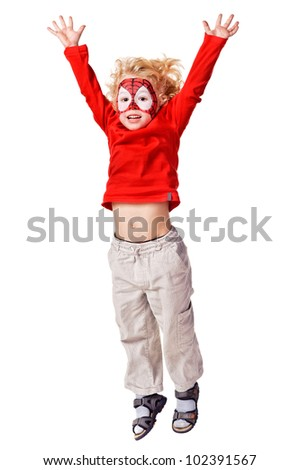 Kid with painted face. Isolated over white background