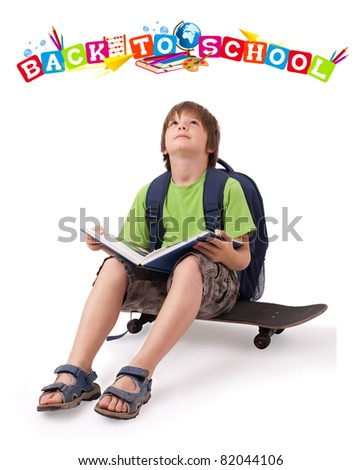 Kid with skateboard and books with back to school theme isolated on white
