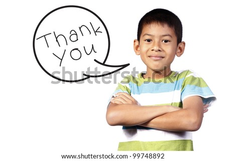 kid with Speech say thank you on white background