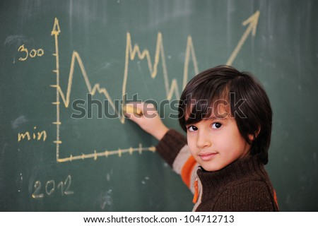 Kid writing diagram on blackboard