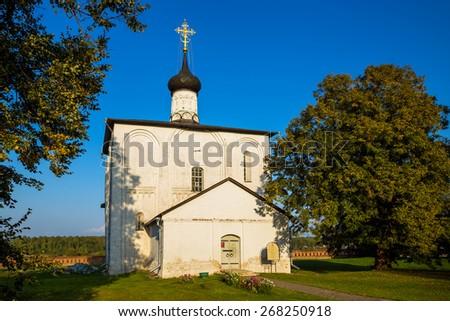 KIDEKSHA, RUSSIA - SEPTEMBER 08, 2014: Church of Boris and Gleb a built in 1152, on orders of Prince Yuri Dolgoruky, in Kideksha on Nerl River