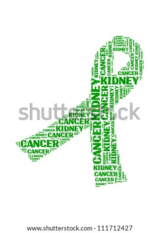 Kidney Cancer text collage Composed in the shape of Green Ribbon