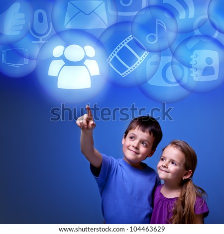 Kids accessing cloud computing applications from virtual space - futuristic
