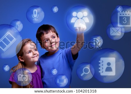 Kids accessing cloud computing applications on virtual three dimensional display