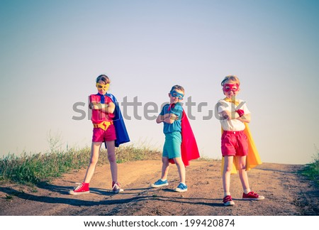 kids acting like a superhero...