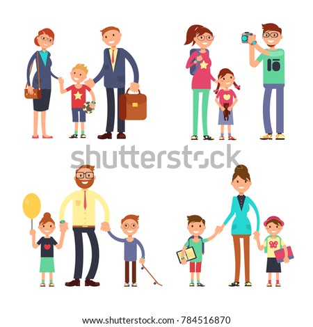 Kids and parents in happy family. Mom, dad and children flat characters set. Happy family man woman with boy and girl illustration