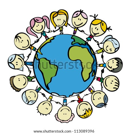 Kids around the world save the planet earth holding hands