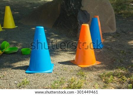 Kids assorted plastic traffic cones