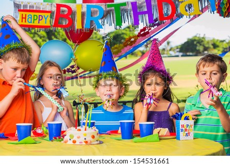 Kids at Birthday Party, Cake and Balloons #154531661