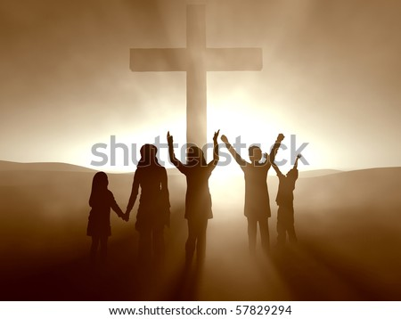 Kids at the cross of jesus christ stock photo