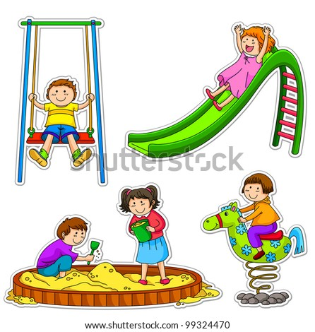 kids at the playground (vector available in my gallery)