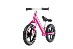 Kids balance Bike on white background. front view