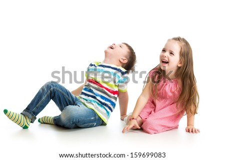 kids boy and girl looking up #159699083