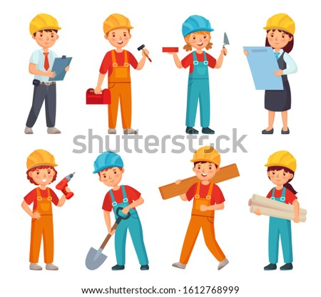 Kids builders. Little boys and girls in builder work suit, children in construction helmet and engineering costumes. Little builders character worker in uniforms cartoon isolated  icons set