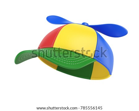 Kids cap with propeller, colorful hat, 3d rendering