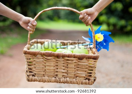 kids carrying fruit basket outdoors - stock photo