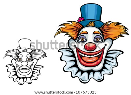 Kids cartoon illustration of a comic happy clown face with tufts of hair and a beaming grin in a coloured and black and white outline variant, isolated on white. Vector version also available - stock photo