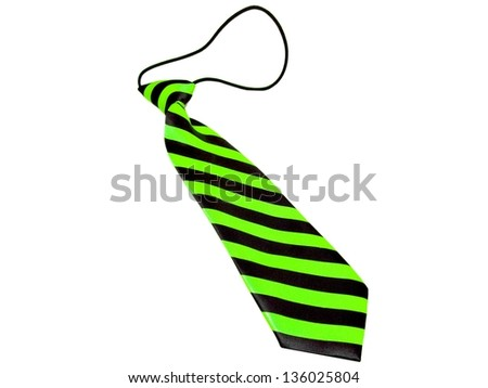 Kids / children's / boys green and black striped necktie isolated on a white background