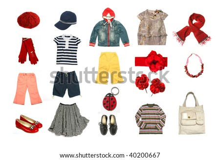 Kids clothes and accessories set - stock photo