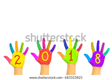 Kids colorful hands forming number 2018. Isolated on white background. The symbol of the new year. Party and holidays together, diversity concept. Happy New Year!