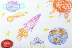 Kids drawing on white sheet of paper, closeup