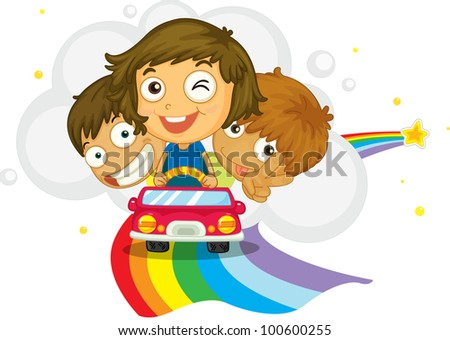 Kids driving on a rainbow - EPS VECTOR format also available in my portfolio.