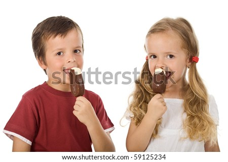 Kids eating icecream - isolated
