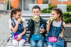 Kids  eating outdoors the school from plastick lunch boxe. Healthy school breakfast for child. Sandwich time.