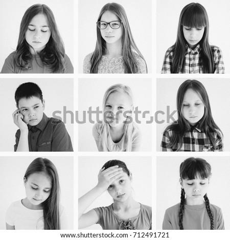 Kids emotions collage #712491721