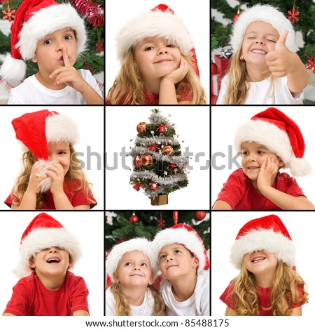 Kids expressions at christmas time - a collage of wonder, laughter mystery and fun