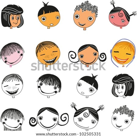 White background face icon happy people cartoon sketch illustration