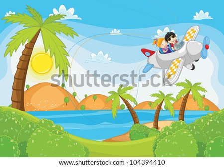 Kids flying by plane - stock photo