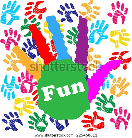 Kids Fun Indicating Colors Handprint And Positive