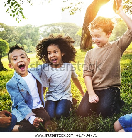 Kids Fun Playful Happiness Retro Togetherness Friendship Concept #417904795