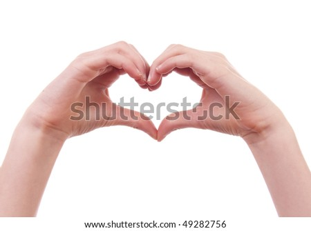 kids hands in shape of heart over white background