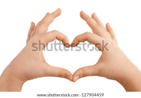 Kids hands showing heart shape isolated on white