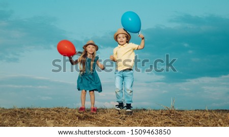Kids having fun in autumn against blue sky. Child playing Happy childhood. Childhood on countryside. Childhood memories. Child care #1509463850