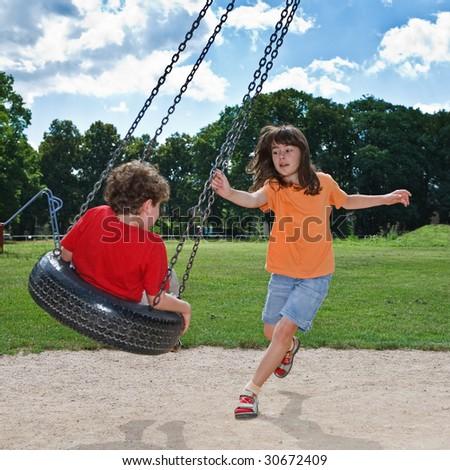 Kids having fun in park
