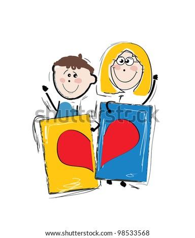 kids holding heart cartoons