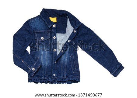 0a81481a46 Kids jeans jacket isolated. A stylish fashionable denim dark blue jacket  with a light blue · Baby cotton colorful apparel.Clothing set isolated.