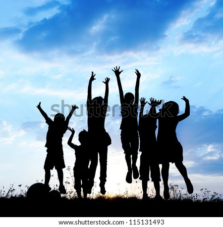 Kids jumping together