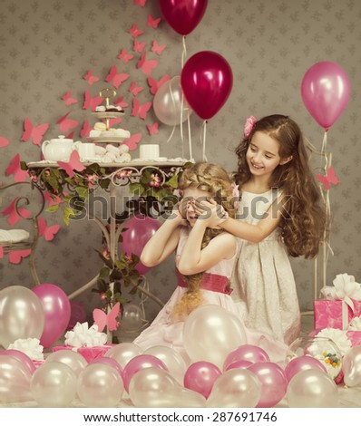 Kids Little Girls Covering Eyes with Hands, Children Birthday Presents Balloons Gift Box, Retro Style Celebration