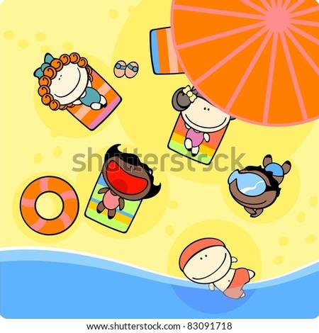 Kids on a beach (raster version) - stock photo